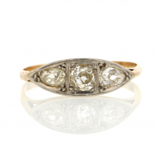 Antique Three Old Mine Cut Diamond Ring Image