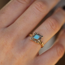 Antique Rhomboid Opal Gold Ring Image