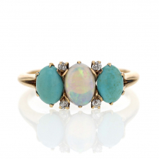 Antique Gold Turquoise and Opal Ring with Diamonds