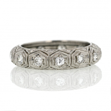 Vintage Platinum Engraved Diamond Band Ring Image