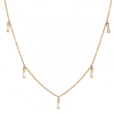 Diamond Baguette 14k Rose Gold Necklace Image