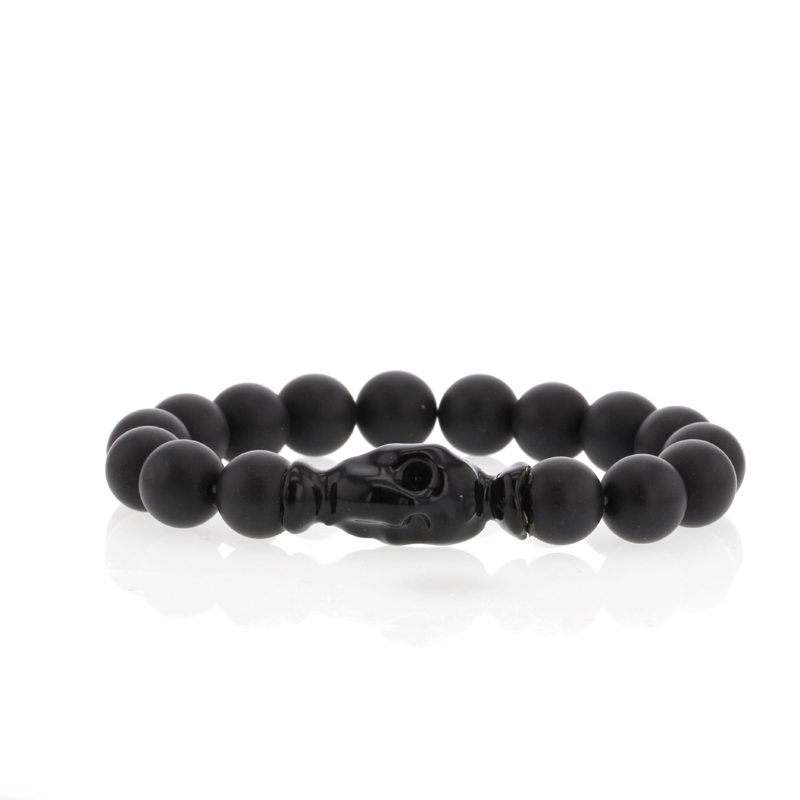 Black Matte Onyx Blackened Skull Bracelet Womens Version