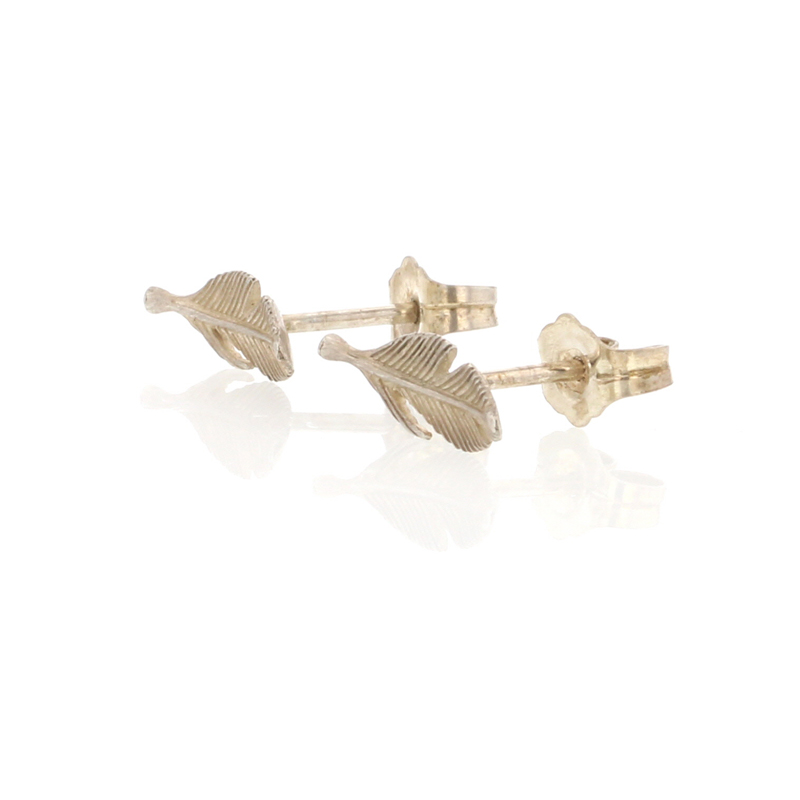 Silver Feather Tiny Studs