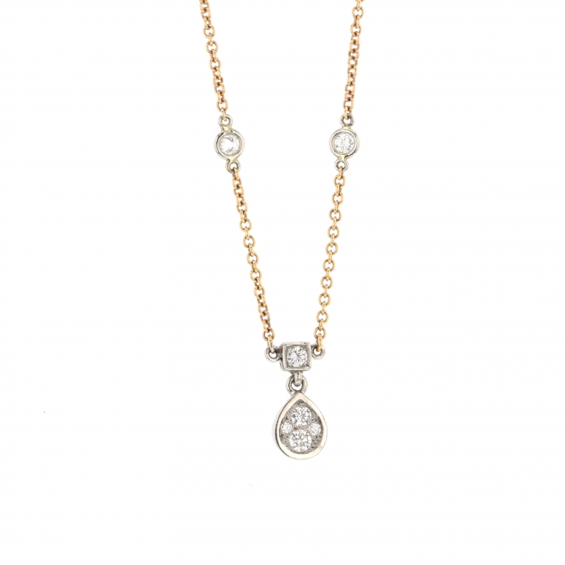 Platinum and 18k Rose Gold Diamond Necklace