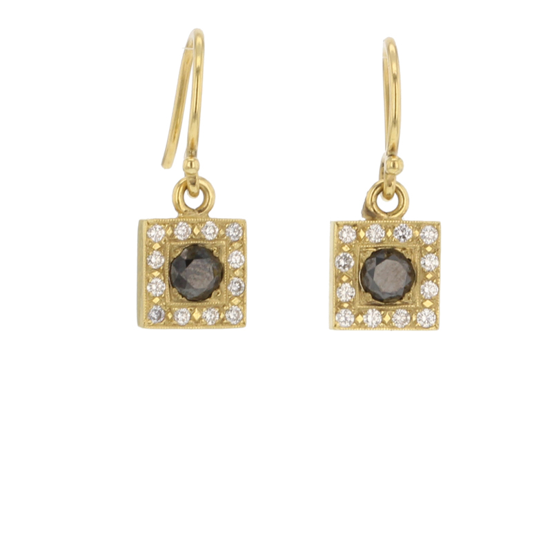 Black Diamond Gold Square Earrings