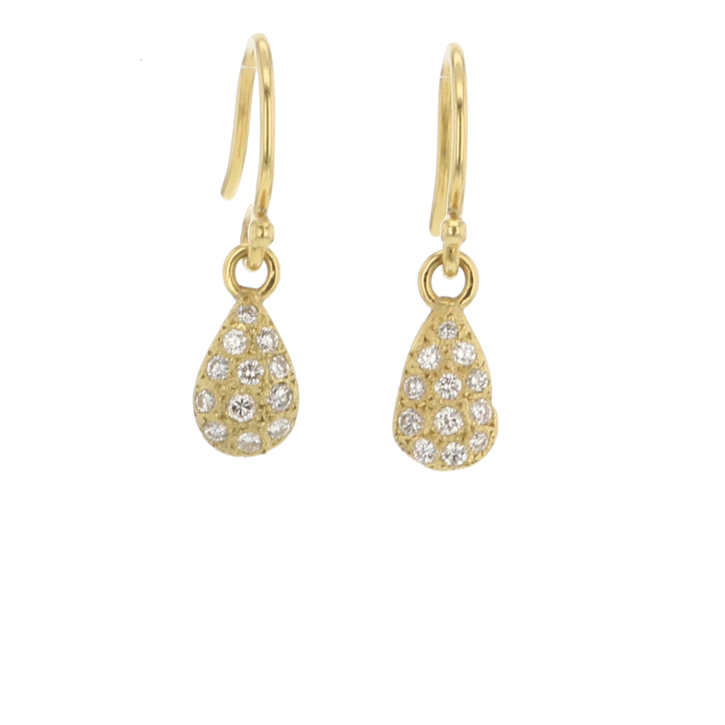 Pave Gold Tear Drop Earrings