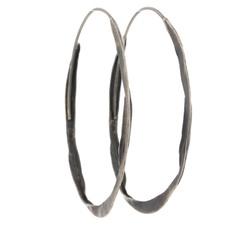 Large Crinkle Brushed Silver Hoops