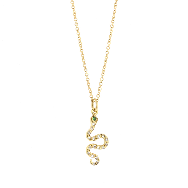Little Snake Yellow Gold Diamond Necklace