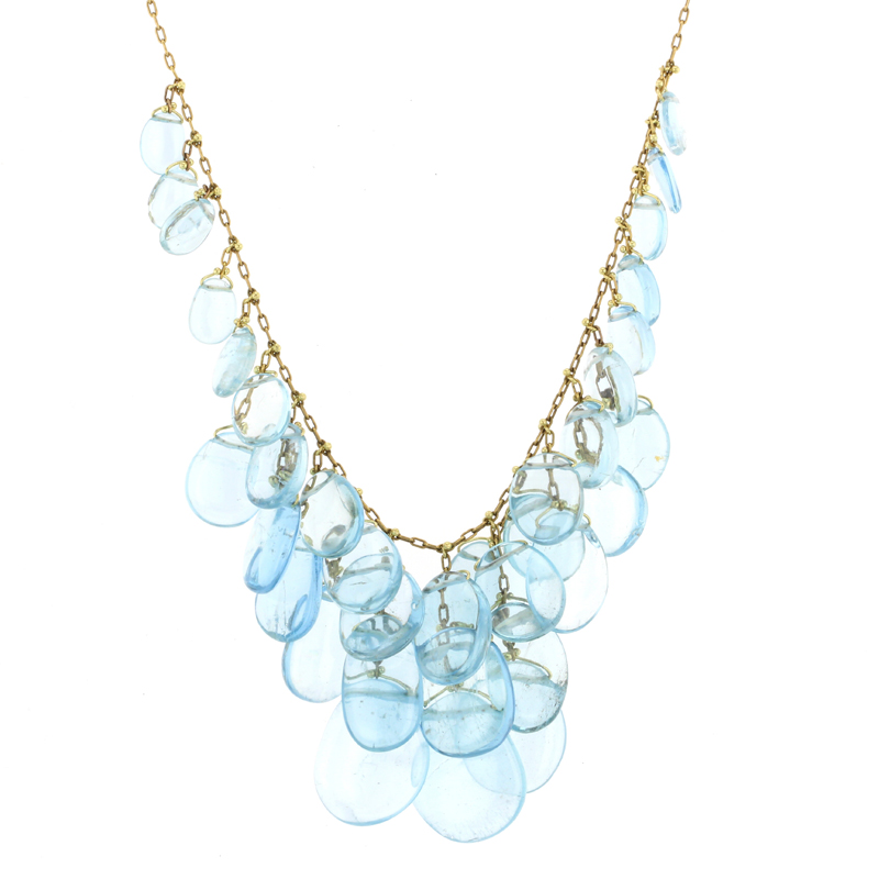Aquamarine Gold Luxe Cluster Necklace