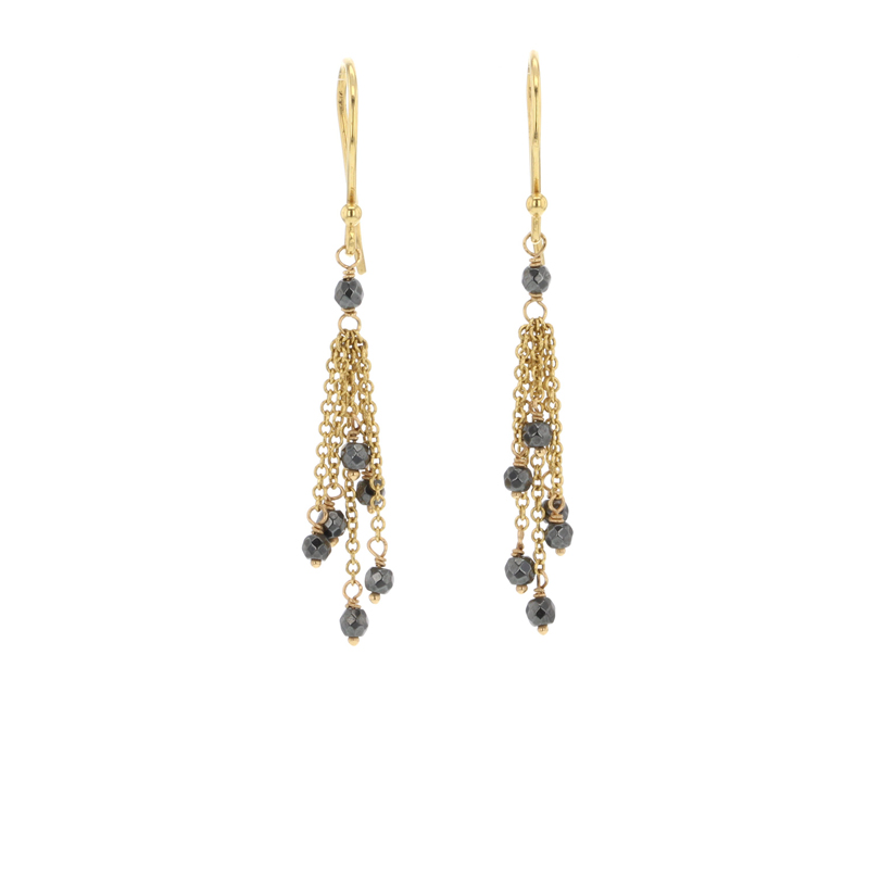 Hematite Tassle 18k Earrings