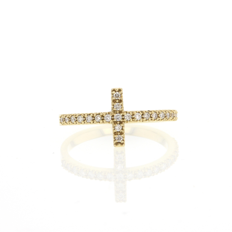 Pave Diamond Cross Ring