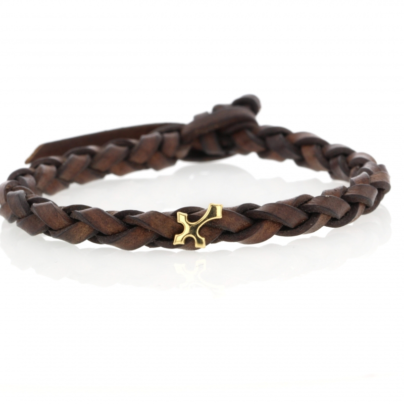 Braided Brown Leather Bracelet with Gold Cross