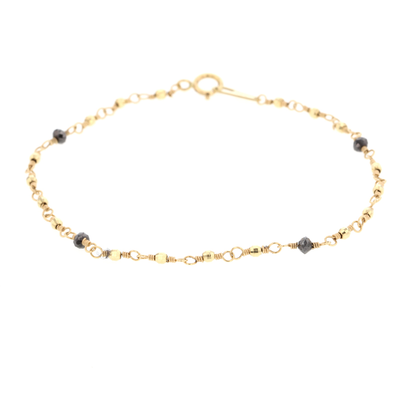 Faceted Yellow Gold Bracelet with Black Diamonds