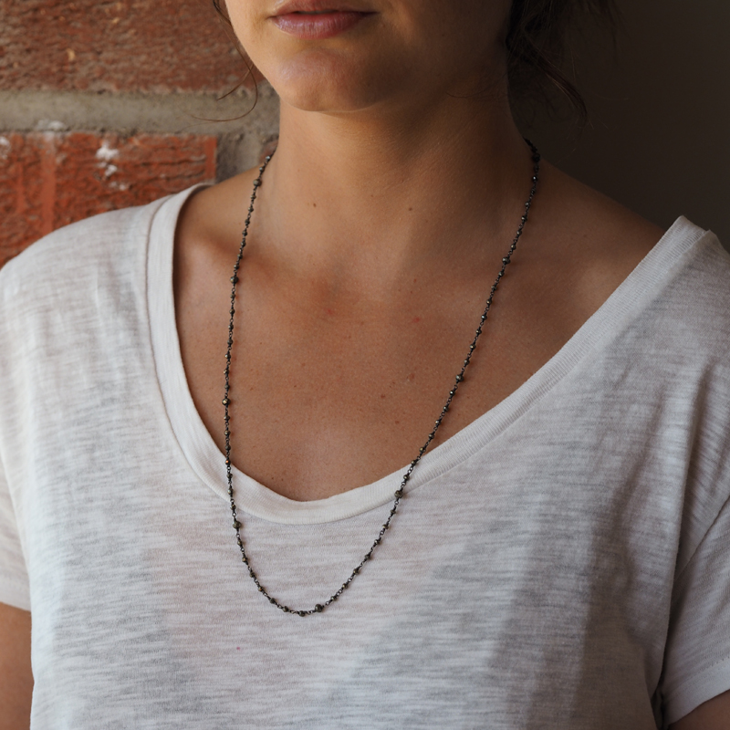 Faceted Blackened Pyrite Chain