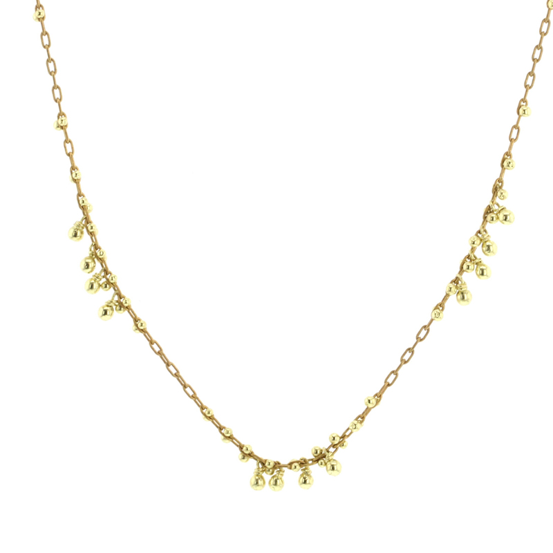 Gold Beaded Multi Cluster Necklace