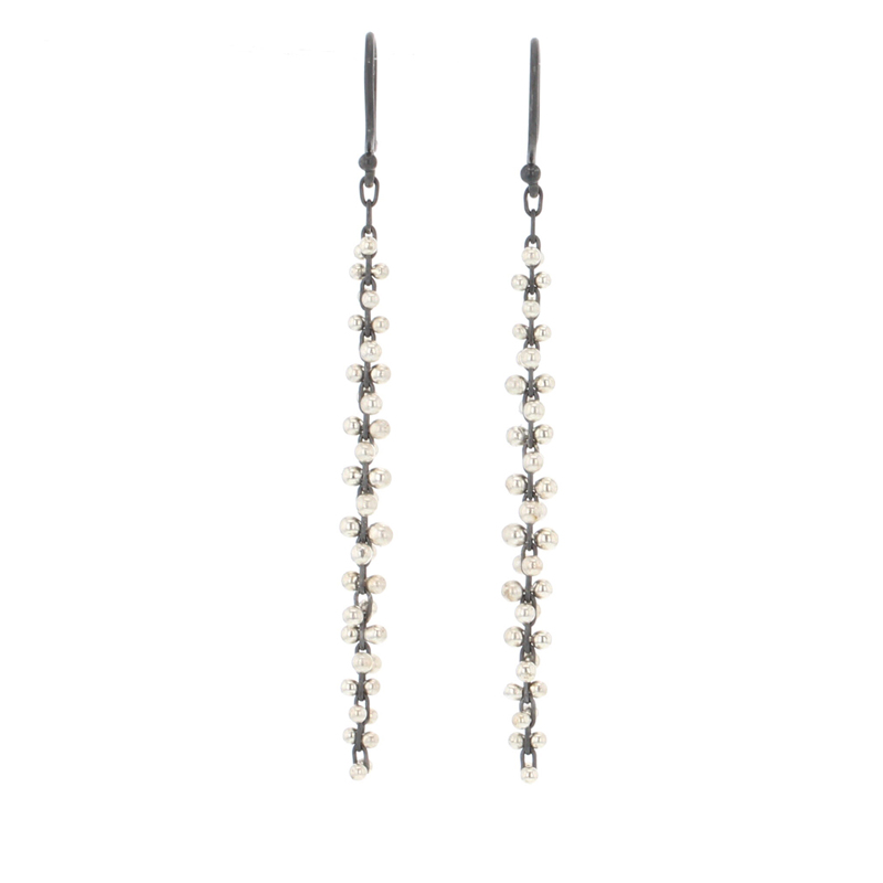 Long Cluster Blackened Silver and Silver Cluster Earrings