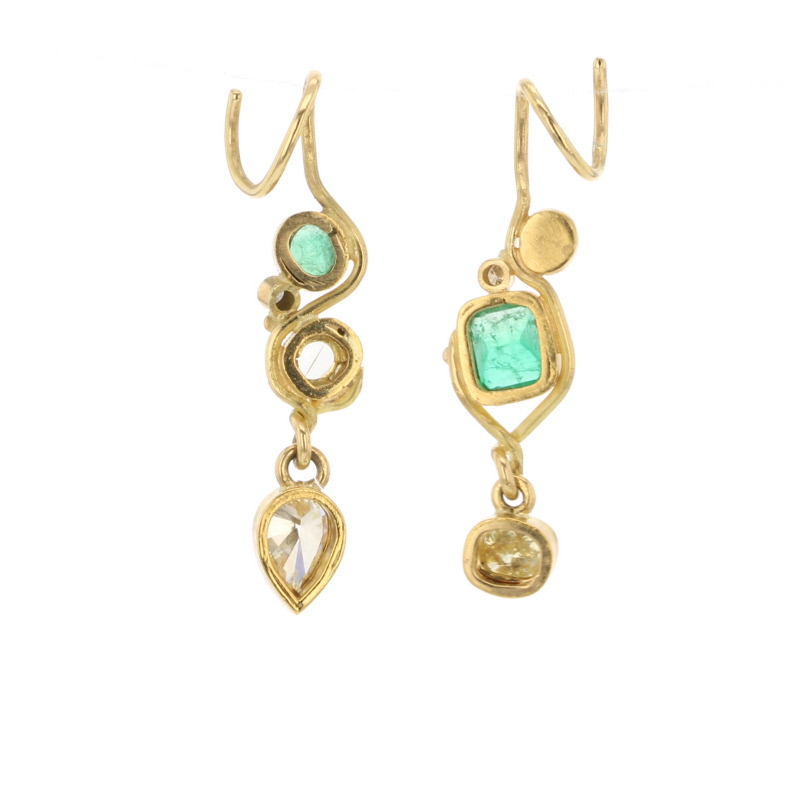 Emerald and Diamond 22k Gold Earrings
