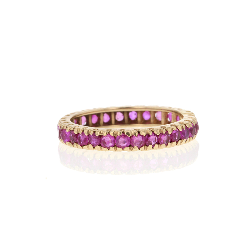 Ruby Channel Set Eternity 14k Gold Band