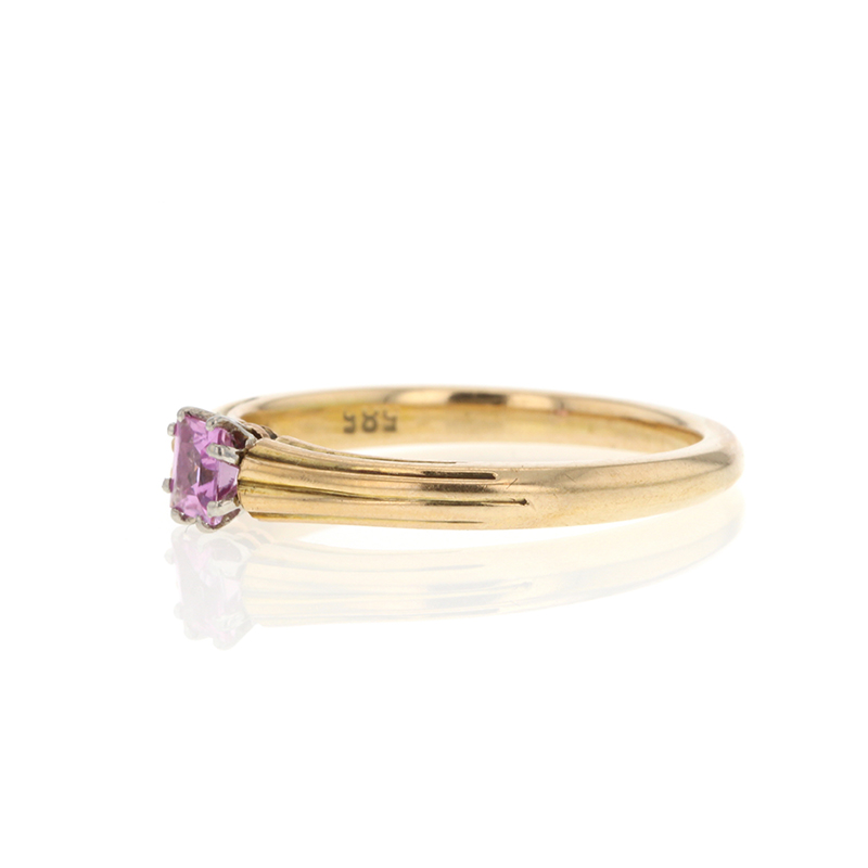 Solitaire Pink Tourmaline 14k Yellow Gold Ring