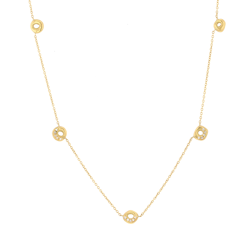 Five Drop Gold Organic Necklace