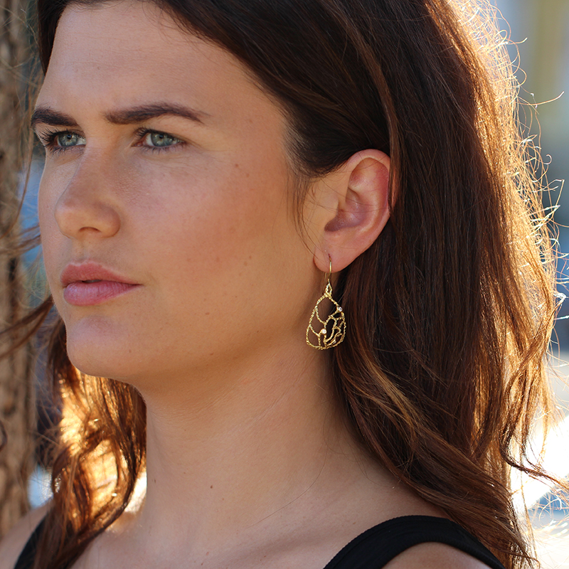 Domed Lacy Gold Earrings