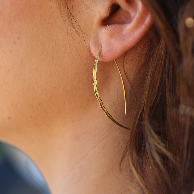 Dagger Wishbone Gold Earrings