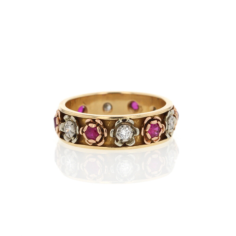 Flower Ruby And Diamond Gold Ring At Voiage Jewelry