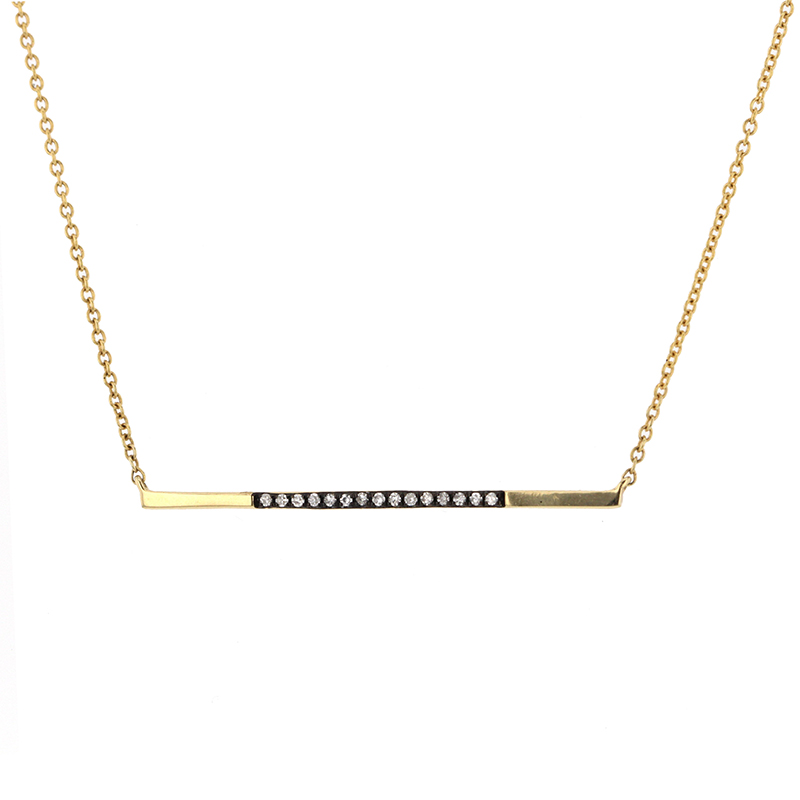 Blackened Yellow Gold Matchstick Necklace