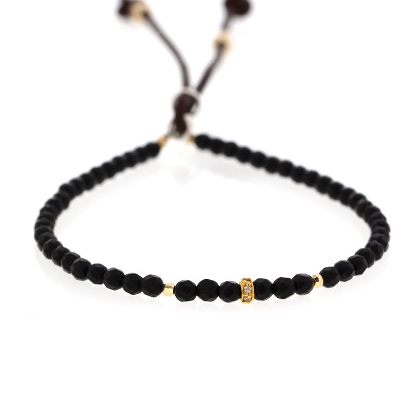 Black Agate Leather Bracelet with Tiny Diamond and Gold Accents