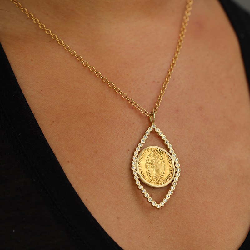 12th Century Gold Coin with Diamond Necklace