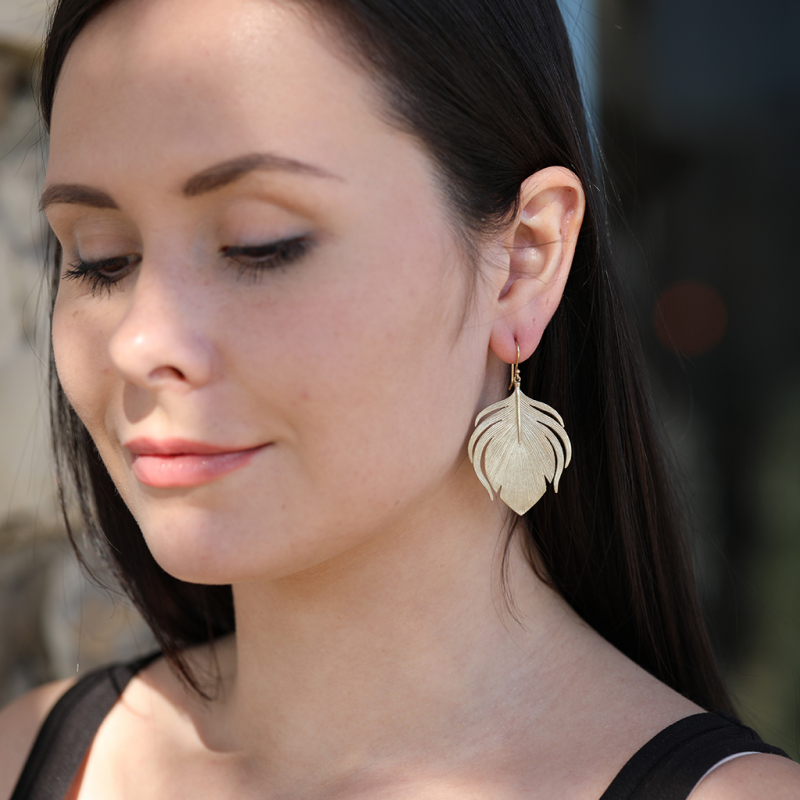 10k Gold Large Peacock Feather Earrings