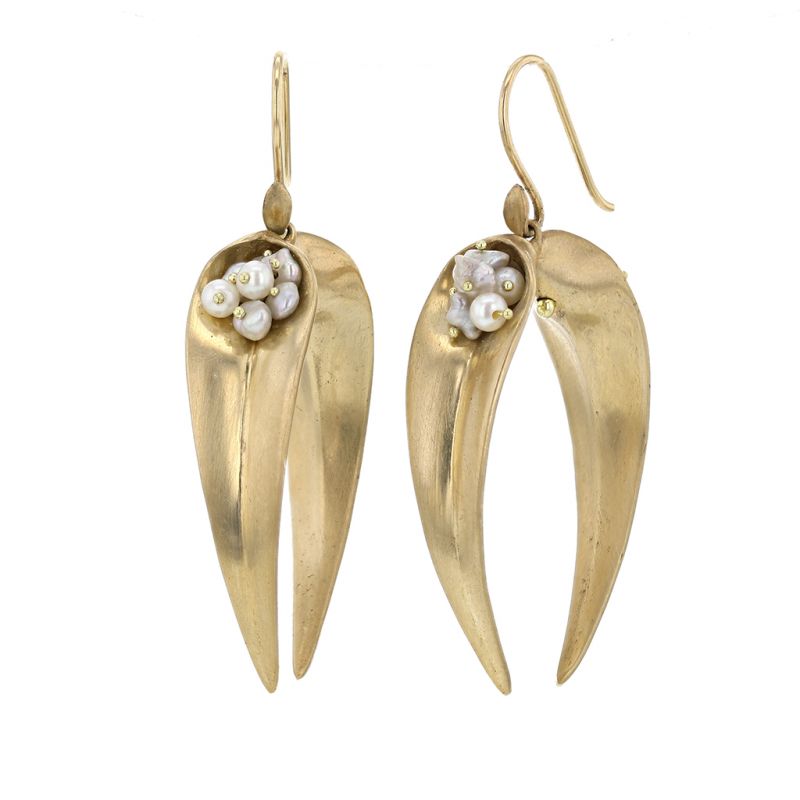 Gold Double Day Flowers Earrings with Pearls