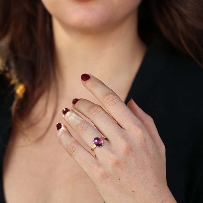 Amethyst Faceted 18k Gold Band Ring