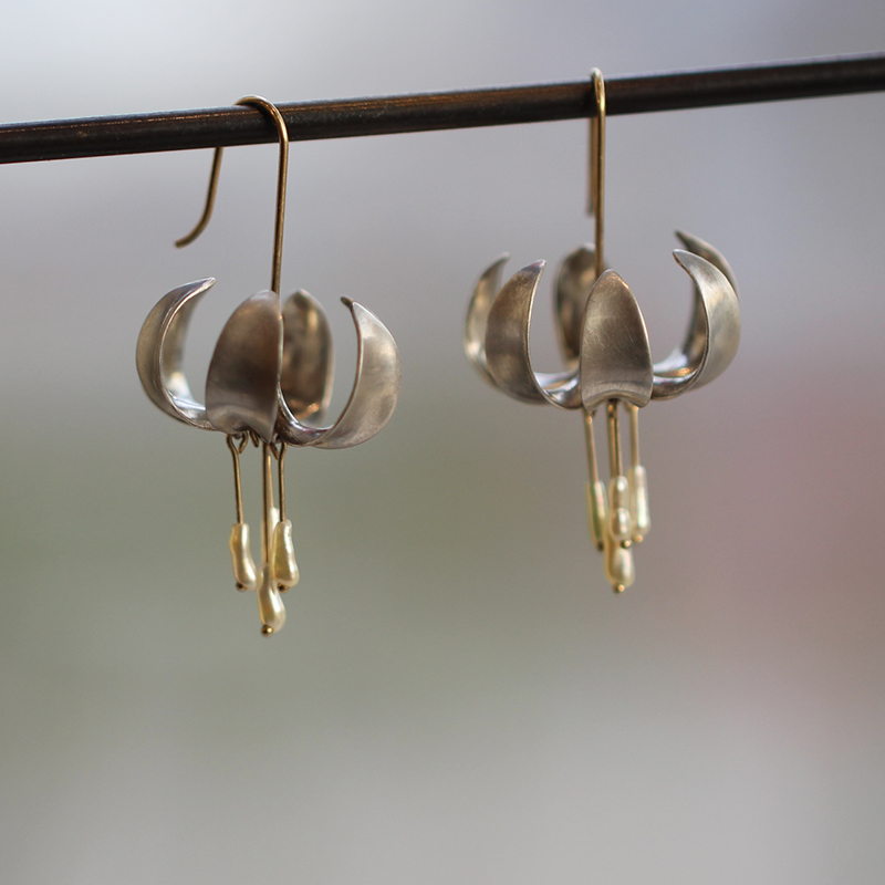 Silver and Gold Turks Cap Lily Earrings with Pearls