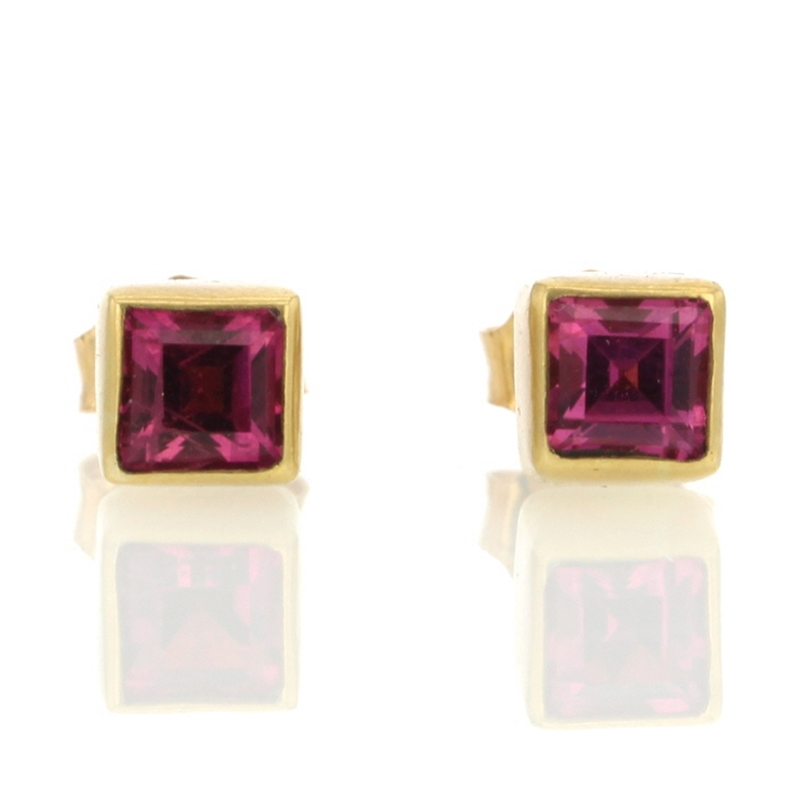 Pink Tourmaline Square Stud Earrings
