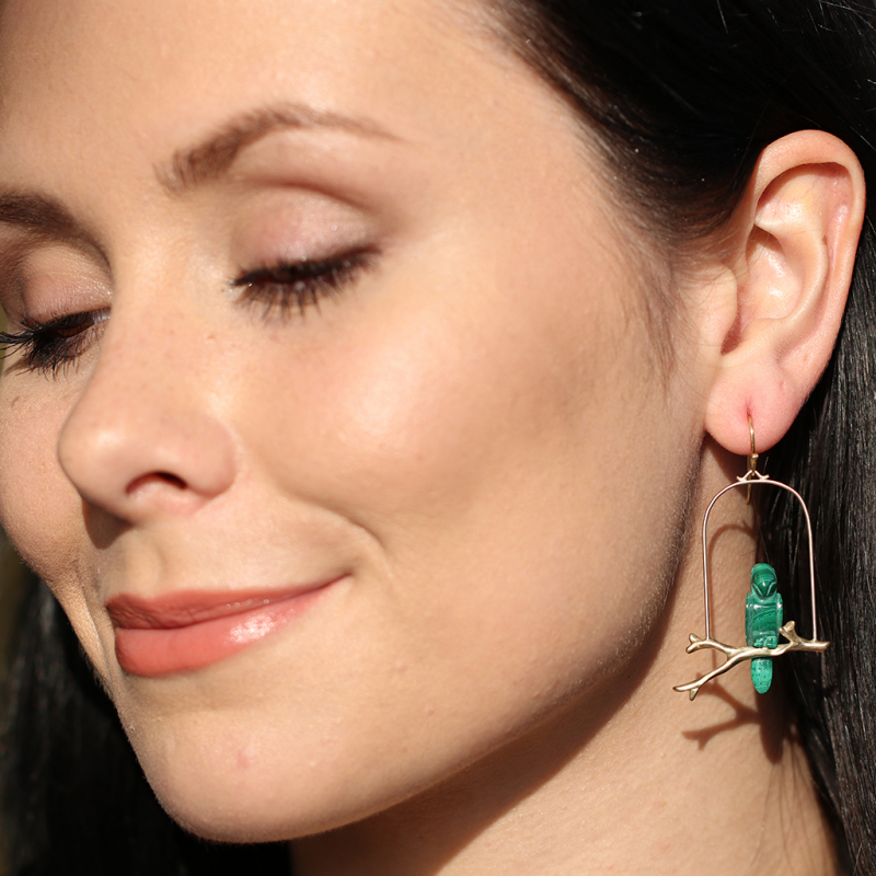 Malachite Amazon Parrot Perch Earrings
