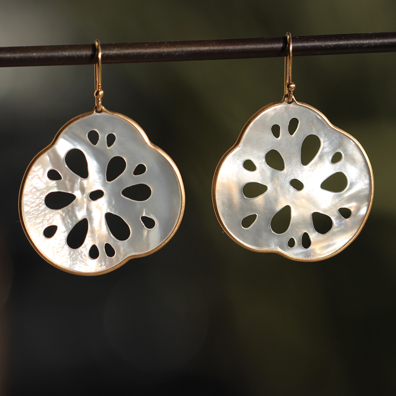 Small Lotus Root Mother of Pearl Earrings