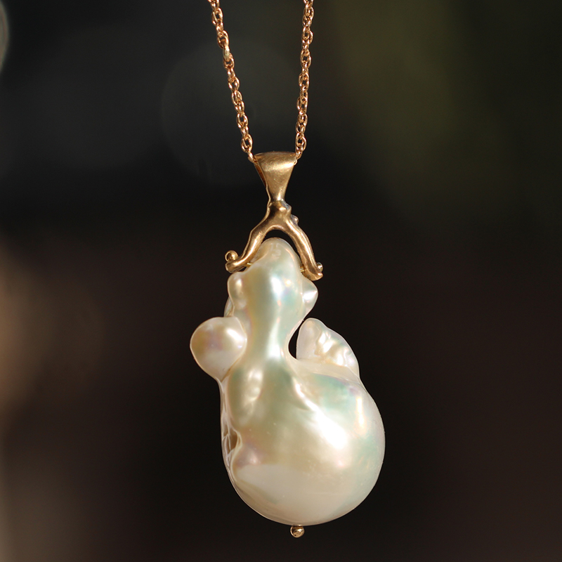 Natural Pearl Long Gold Necklace