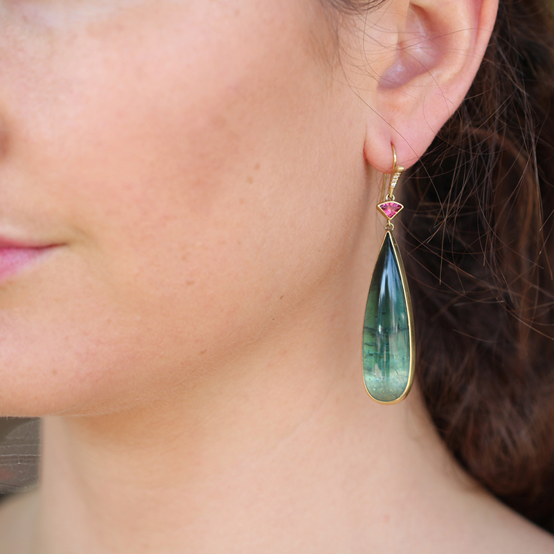 Indicolite and Pink Tourmaline Gold Drop Earrings