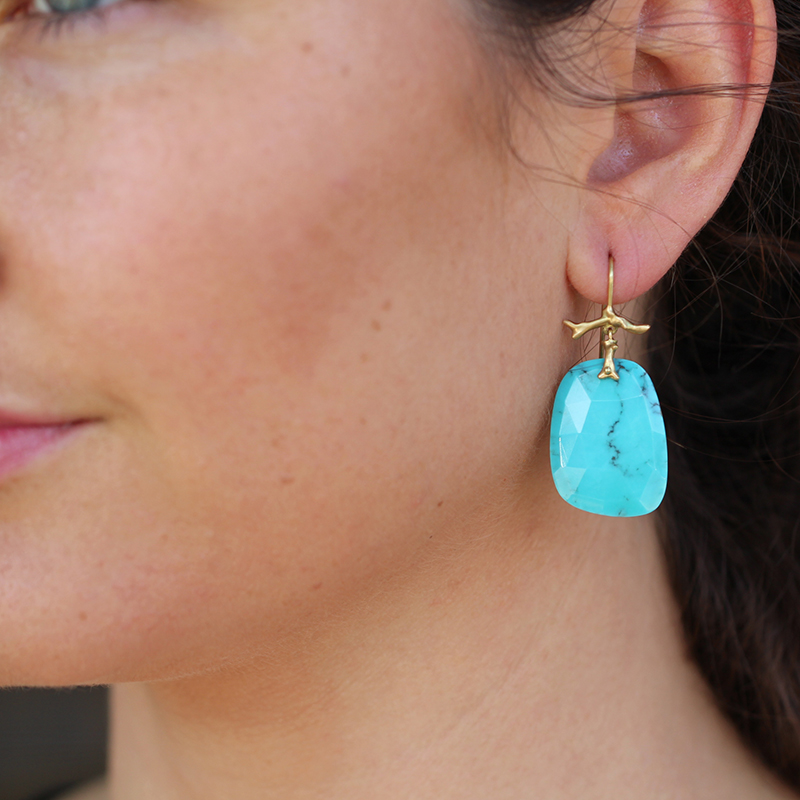 Turquoise Slice Branch Earrings