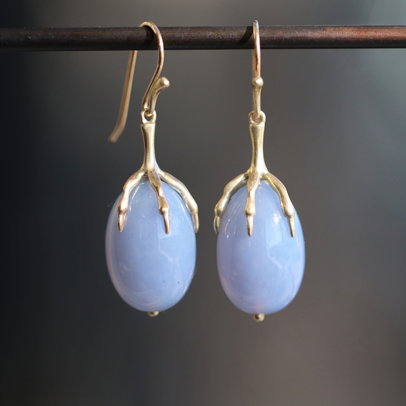 Blue Chalcedony Quail Egg 14k Gold Claw Earrings