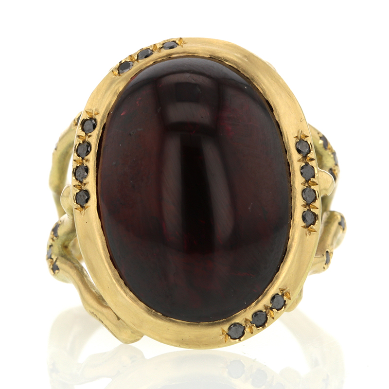 Red Tourmaline Gold Branch Ring with Black Diamonds