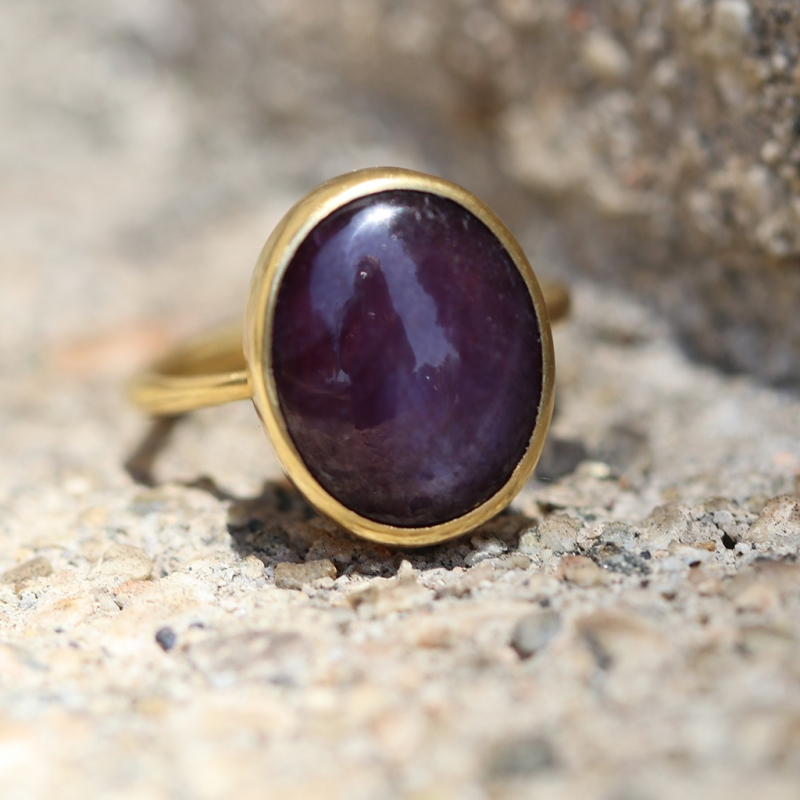 Chatoyant Ruby Gold Ring