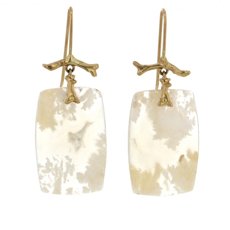 Plume Agate Gold Branch Earrings