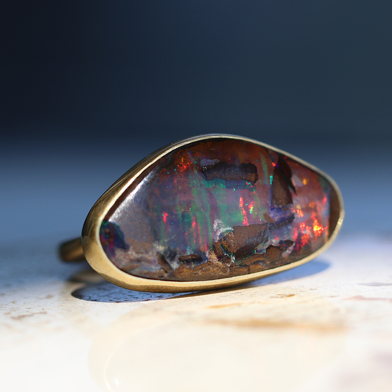 Horizontally set Boulder Opal 18k Gold Ring