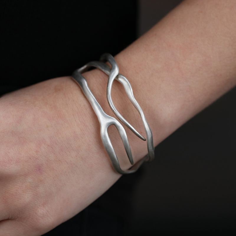 Sterling Silver Coral Branch Cuff Bracelet
