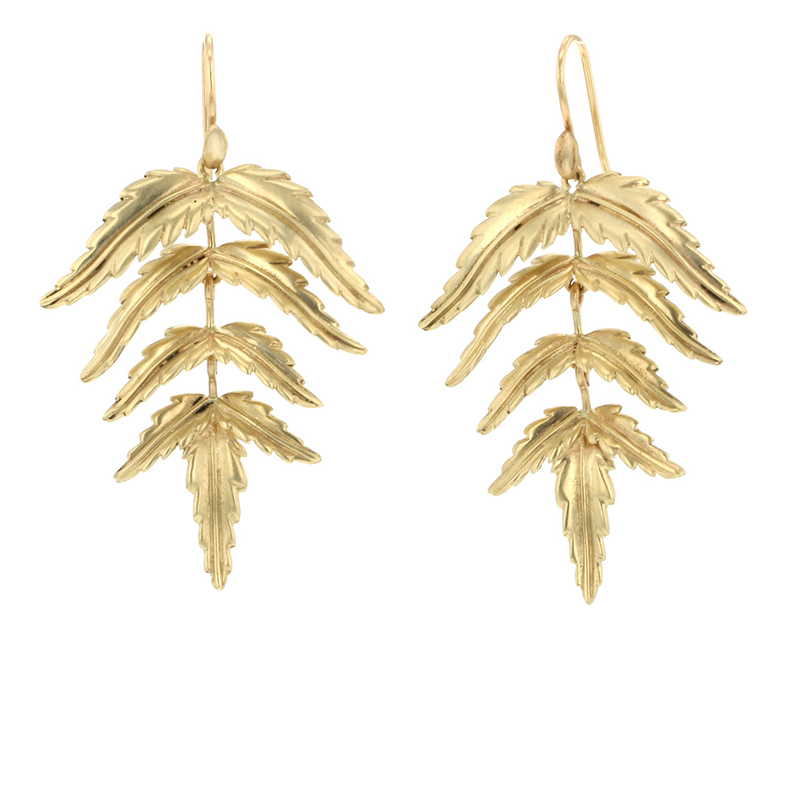 10k Gold Fern Earrings