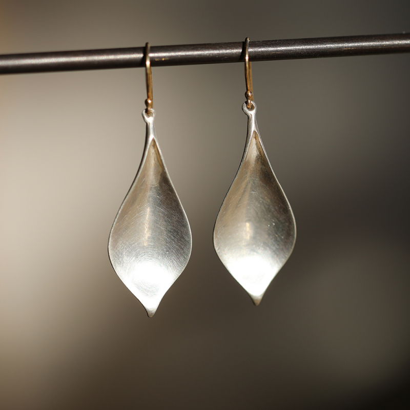 Silver Crocus Petal Earrings
