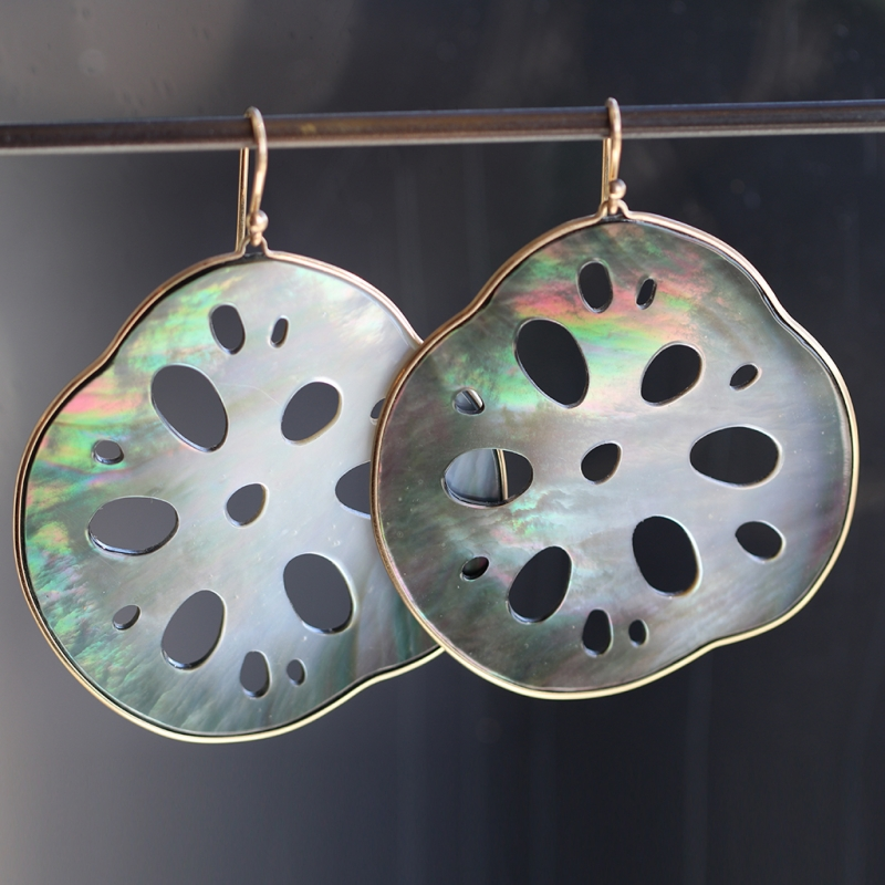 Large Black Mother of Pearl Lotus Root Gold Earrings