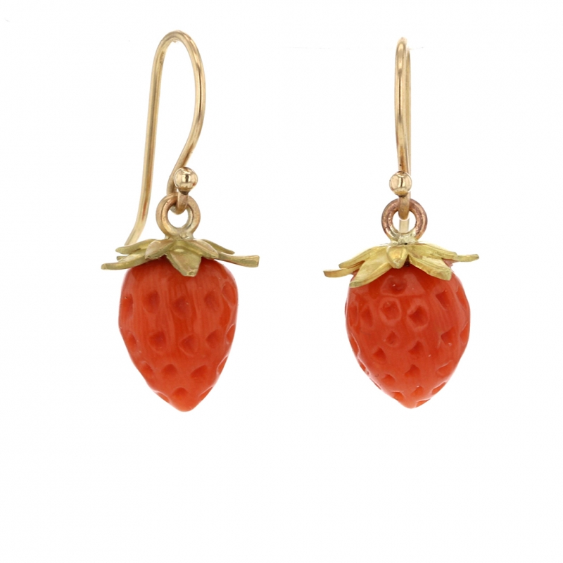 Gold Coral Strawberries Earrings